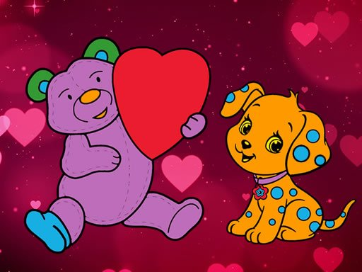 Play Valentine Pets Coloring Book Game