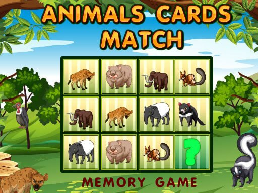 Play Animals Cards Match Game