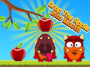 Play Drop The Apple Into Mouth Game